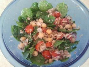 Tuna salad tossed with spinach, chick peas, cherry tomatoes ...